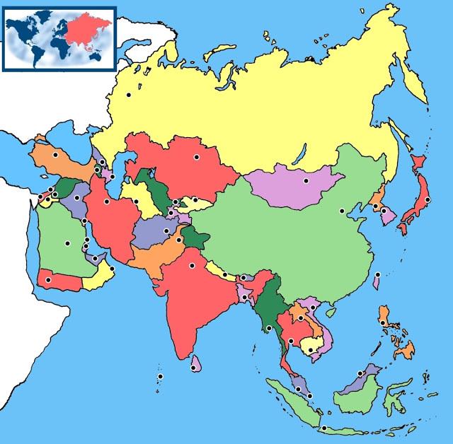 Mapa De Asia Mudo.Juegos De Geografia Juego De Paises De Asia En El Mapa