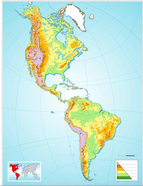 Juegos de Geografa  Juego de Amrica mapa fsico mudo  Cerebriti
