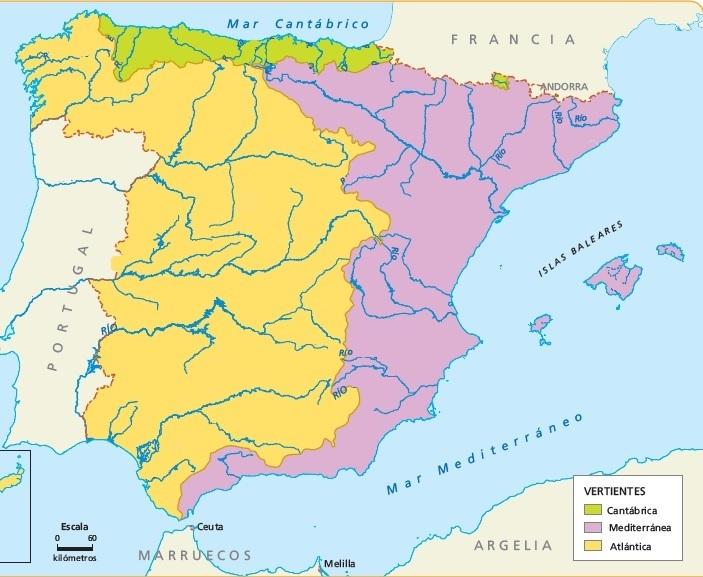 Vertientes Mapa Hidrografico De España.Juegos De Geografia Juego De Mapa Rios De Espana