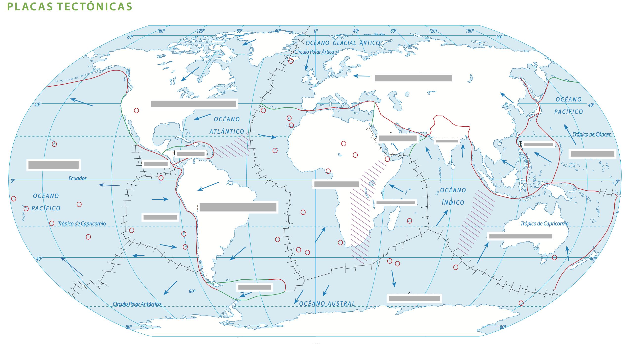 Mapa Mudo Placas Tectonicas