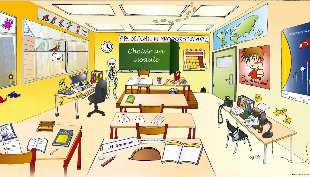 Juegos de idiomas juego de coses de la classe cerebriti - Dessin de classe d ecole ...