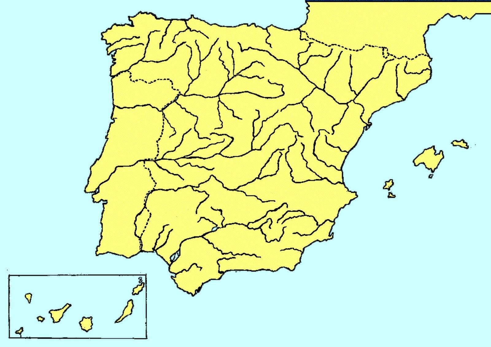 Rios España Mapa Fisico.Mapa Mudo Fisico Rios Espana