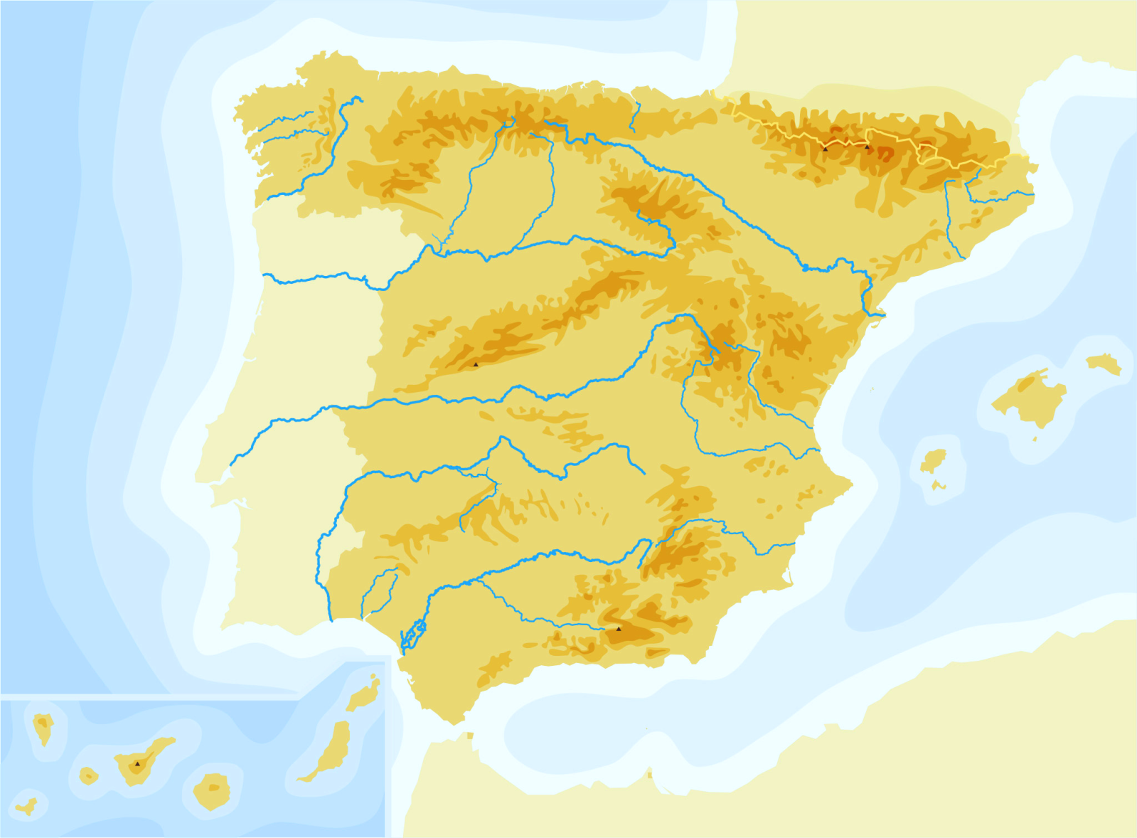 Mapa Picos De España.Juegos De Geografia Juego De Espana Cabos Golfos Bahias