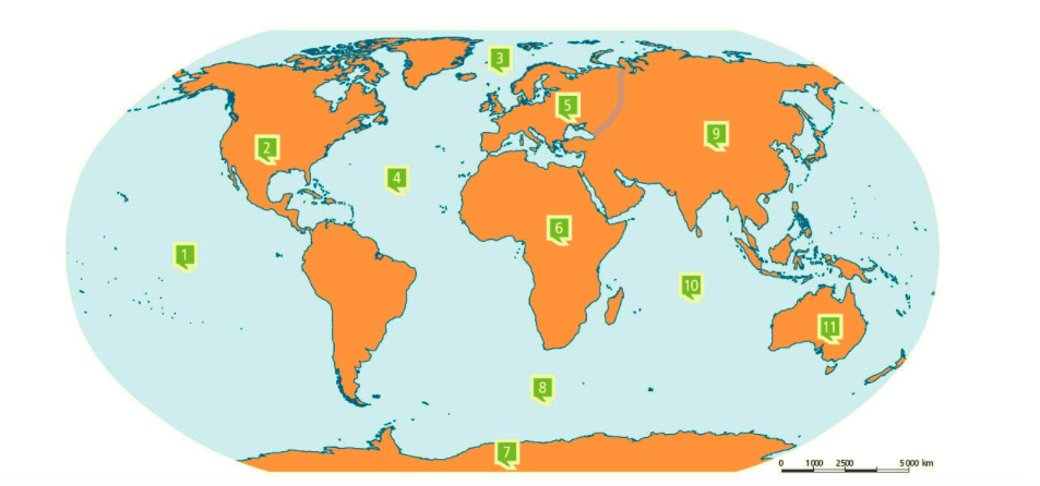 Juegos de Geografa  Juego de Continentes y ocanos del mundo