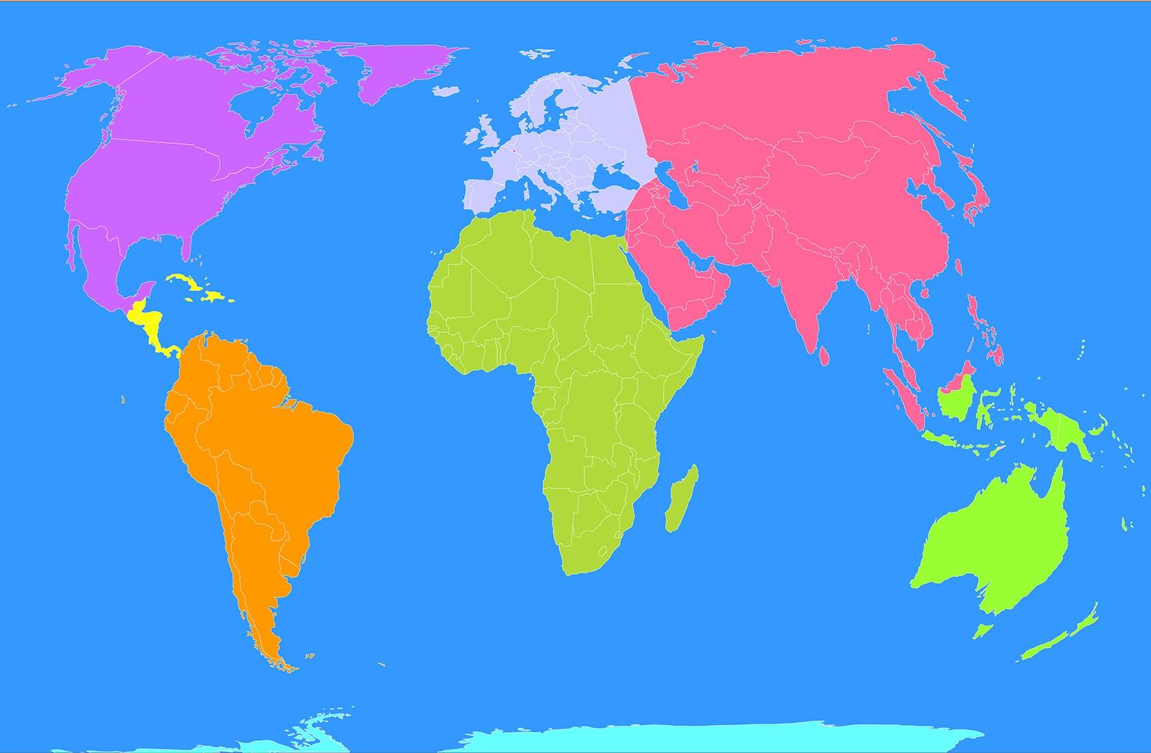 Mapa Para Jugar Dónde Está Continentes Y Océanos: Juego De Ubicación De Continentes