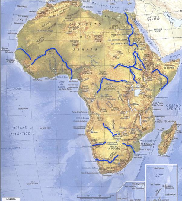 Mapa De Africa Rios.Juegos De Geografia Juego De Africa Fisico Rios Cerebriti